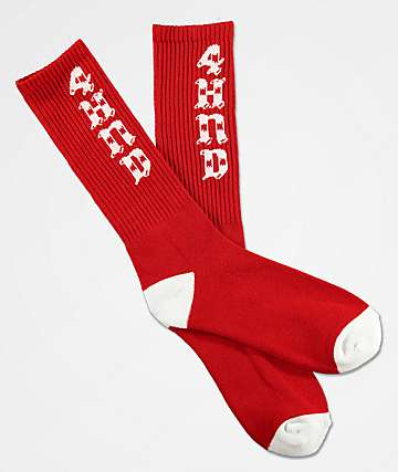 4Hunnid Script Red & White Crew Socks