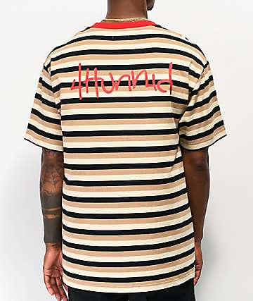 4Hunnid Striped UP Cream & Black T-Shirt
