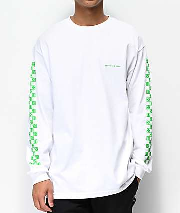 5Boro Checkered Dice White & Green Long Sleeve T-Shirt