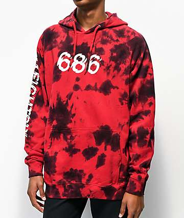 686 All Day Red Tie Dye Hoodie
