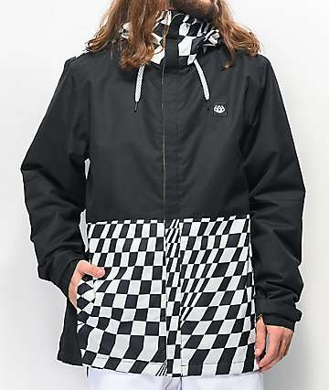686 Foundation Checker Black & White 10k Snowboard Jacket