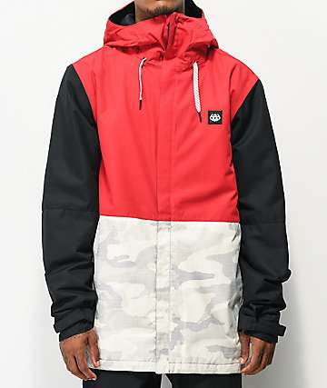 686 Foundation Snow Camo, Red & Black 10K Snowboard Jacket