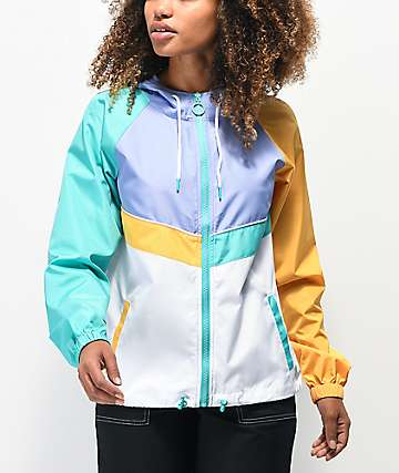 A-Lab Amadi Colorblock Purple, Gold & Green Windbreaker Jacket