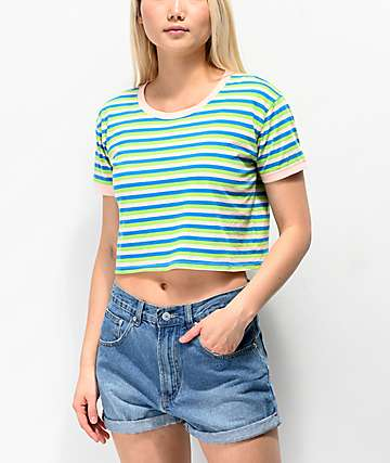 A-Lab Bali Green, Blue & Pink Stripe Ringer Crop T-Shirt