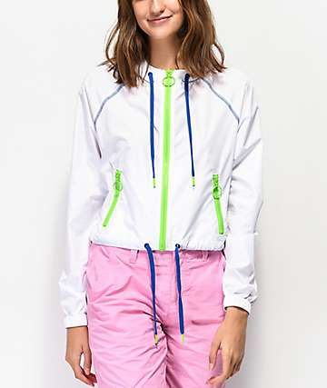 A-Lab Chaya White Crop Windbreaker Jacket