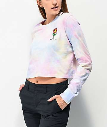 A-Lab Dita Dead To Me Flower Tie Dye Crop Long Sleeve T-Shirt