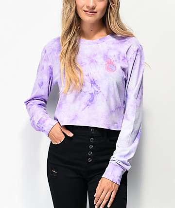 A-Lab Dita Yin Yang Purple Tie Dye Crop Long Sleeve T-Shirt