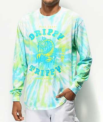 A-Lab Drippy Trippy Green Tie Dye Long Sleeve T-Shirt