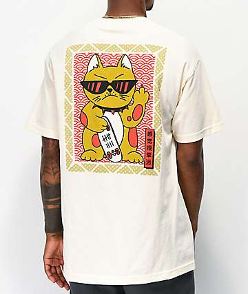 A-Lab Feline Lucky camiseta de color crema