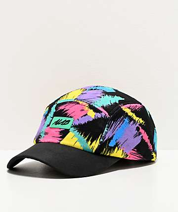 A-Lab Flurry Brush Stroke Black 5 Panel Strapback Hat