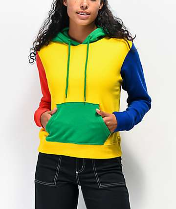 A-Lab Halia Colorblock Yellow, Red, Green & Blue Hoodie