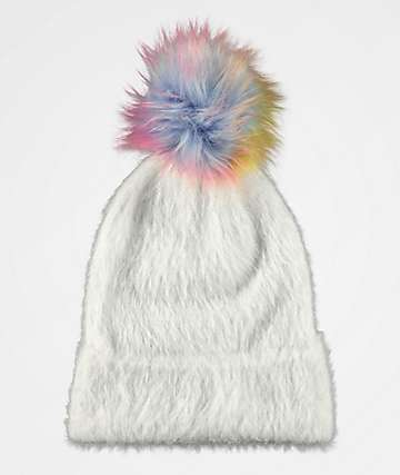 A-Lab Luna Off-White Rainbow Pom Beanie