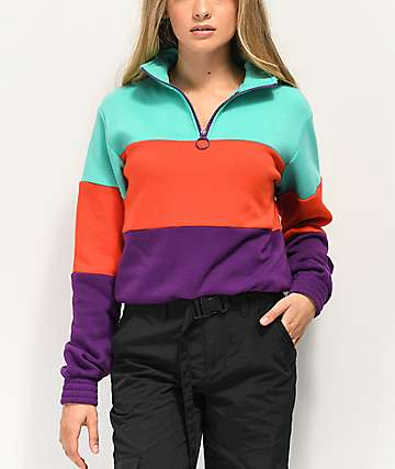 A-Lab Marion Teal, Red & Purple Quarter Zip Sweatshirt