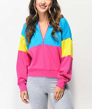 A-Lab Roane Colorblock Pink & Blue Half Zip Hoodie