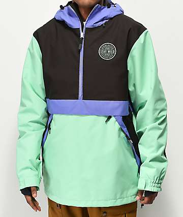 Airblaster Trenchover Blue, Mint & Black 15K Snowboard Jacket