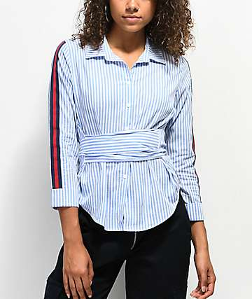 Almost Famous Ami Blue Stripe Button Up Shirt