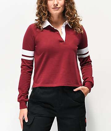 Almost Famous Arm Band Burgundy Crop Long Sleeve Rugby Top