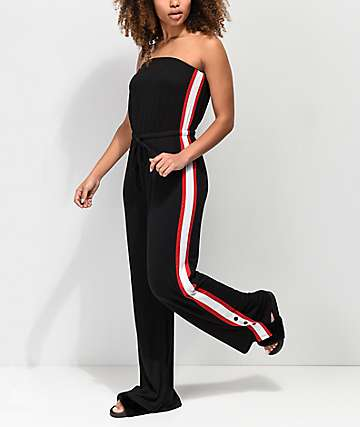 Almost Famous Athletic Taping Black Jumpsuit