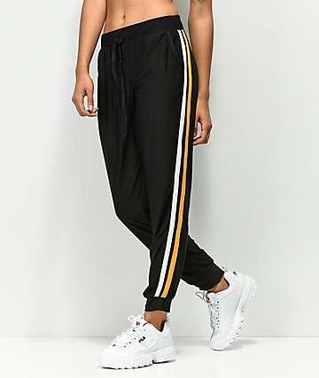 Almost Famous Black & Gold Jogger Sweatpants