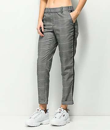 Almost Famous Black & White Plaid Crop Pants