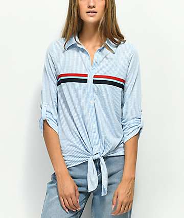 Almost Famous Bree Blue Stripe Tie Front Button Up Shirt