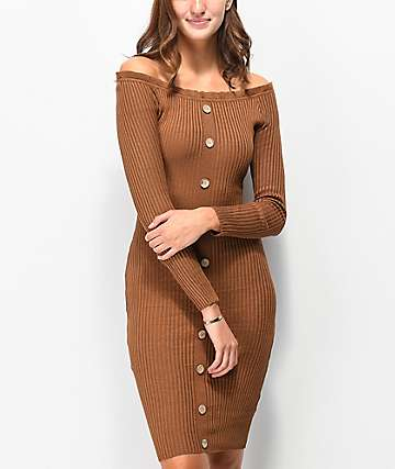 Almost Famous Brown Button Front Off-Shoulder Sweater Dress