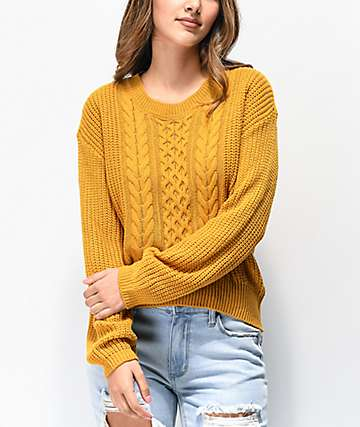 Almost Famous Bubbe Mustard Sweater