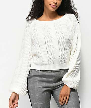 Almost Famous Cable Crew Ivory Crop Sweater