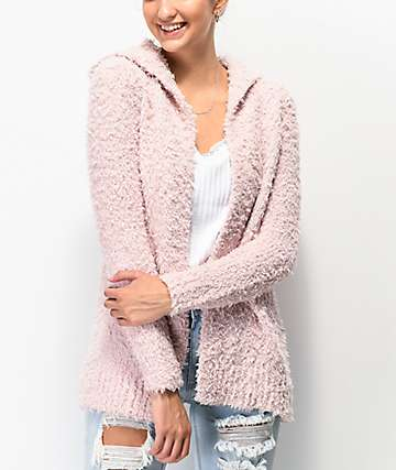 Almost Famous Cardi cárdigan con capucha rosa