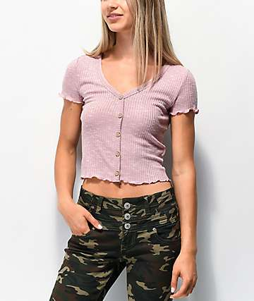 Almost Famous Cory Button Mauve Crop Top