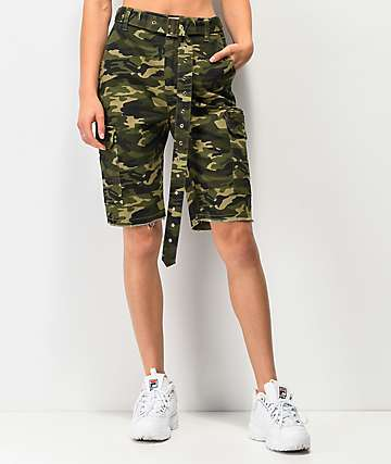 Almost Famous Dark Green Camo Belted Boyfriend Cargo Shorts