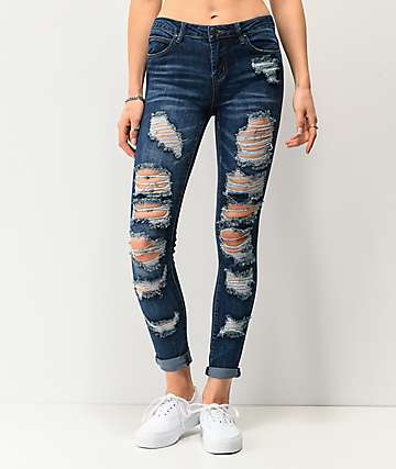 Almost Famous Dark Wash Ankle Skinny Jeans