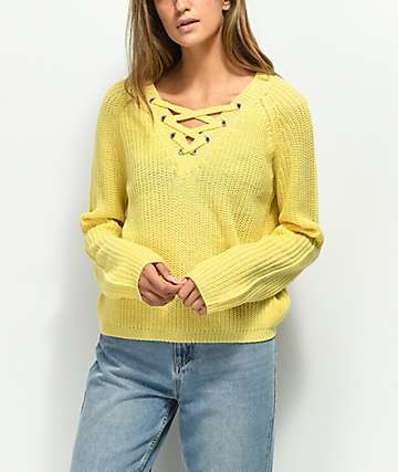 Almost Famous Darla Lace Up Yellow Sweater