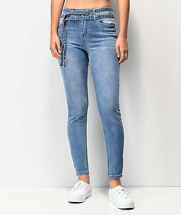 Almost Famous Double Belted Medium Wash Skinny Jeans