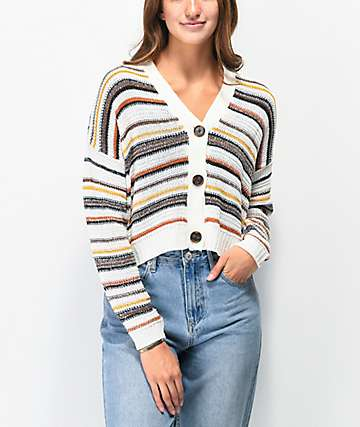 Almost Famous Ivory Combo Crop Cardigan