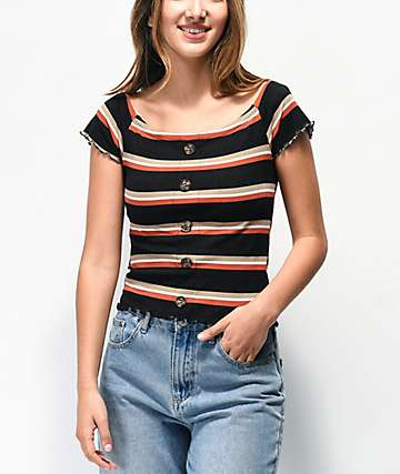 Almost Famous Lilli Black Stripe Off The Shoulder Top