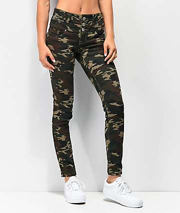Almost Famous Mid Rise Camo Denim Skinny Jeans