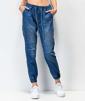 Almost Famous Moto Denim Jogger Pants