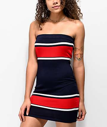 Almost Famous Red & Navy Stripe Tube Dress