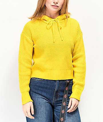 Almost Famous Ryann Yellow Hooded Crop Sweater