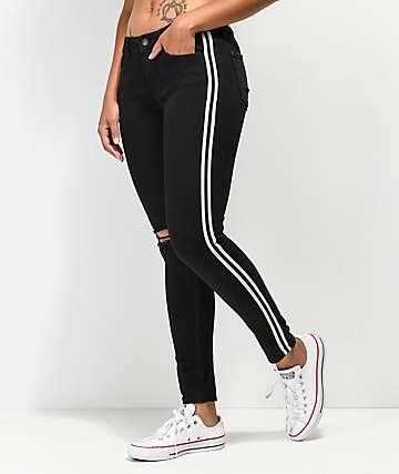Almost Famous Side Stripe Black Skinny Jeans