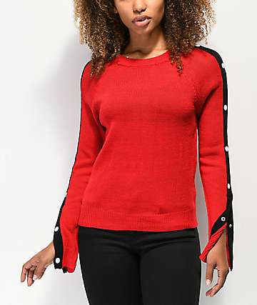 Almost Famous Snap Button Red Crew Neck Sweater