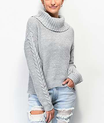Almost Famous Turtleneck Grey Sweater