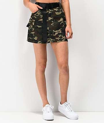 Almost Famous mini falda de camuflaje con cinturón