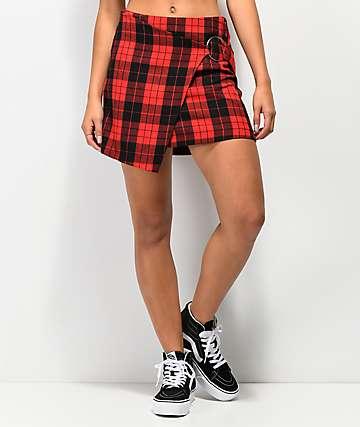 Almost Famous mini falda de tartán roja con anillo