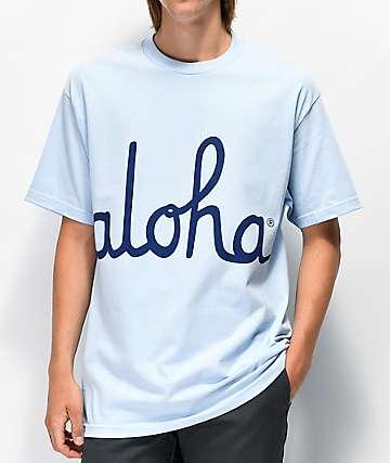 Aloha Army Aloha Script Light Blue T-Shirt
