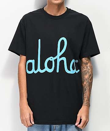 Aloha Army Script Black T-Shirt