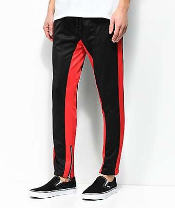 American Stitch Black & Red Tricot pantalones de chándal