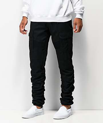 American Stitch Cargo Moto pantalones jogger asargados en negro