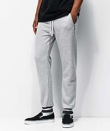 American Stitch Ribbed Heather Grey Jogger Sweatpants